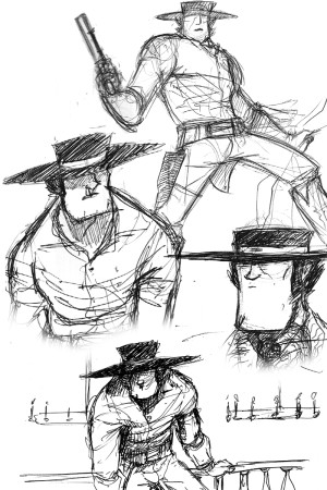 Assorted sketches from the last year of development. Click to enlarge.
