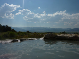 View from a natural hot springs outside of Bridgeport.