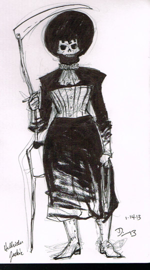 "The first ""real"" character sketch of Hellrider Jackie."