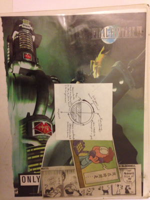 My heroic circle notes in front of a Final Fantasy VII ad and a couple of comic strips.