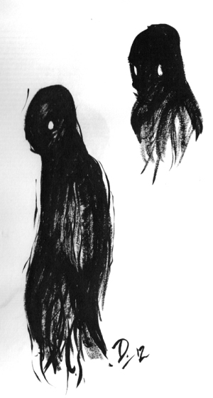 A spooky shadow creature I had a nightmare about. Drawn with a brush, 2012.