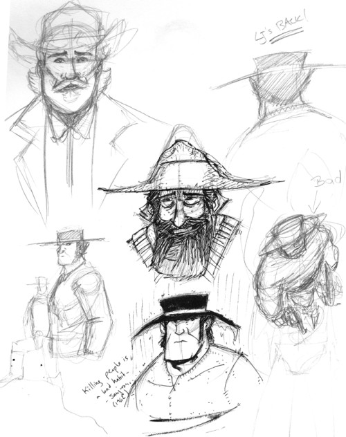 Various preliminary sketches for chapter 1 designs. Click for larger version.