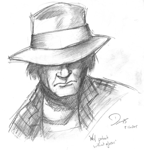 A portrait drawn from the cover of Neil Young's memoir, Waging Heavy Peace. Drawn from afar, without my glasses on, in pencil. Click for larger version.
