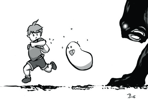 Sketch Fridays #15: A Boy and his Blob. Click to enlarge.