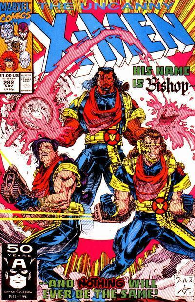Bishop's First Appearance in Uncanny X-Men #282. Art by Whilce Portacio and Art Thibert.