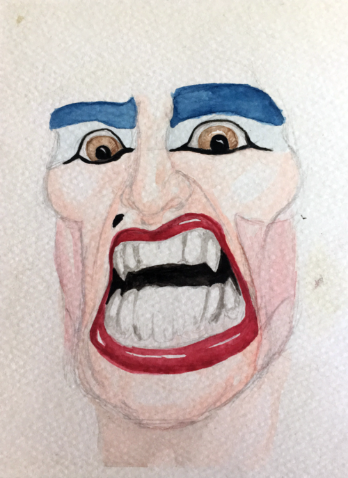 Watercolor portrait of singer Dee Snider. I never figured out how to paint his hair, though. (2000)