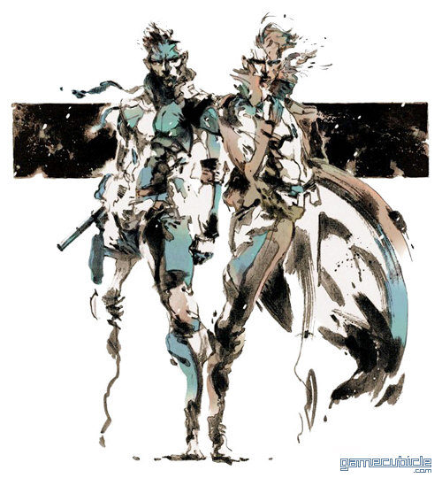 Solid Snake and Liquid Snake (not the cleverest of names) from Metal Gear Solid 1; art by Yoji Shinkawa