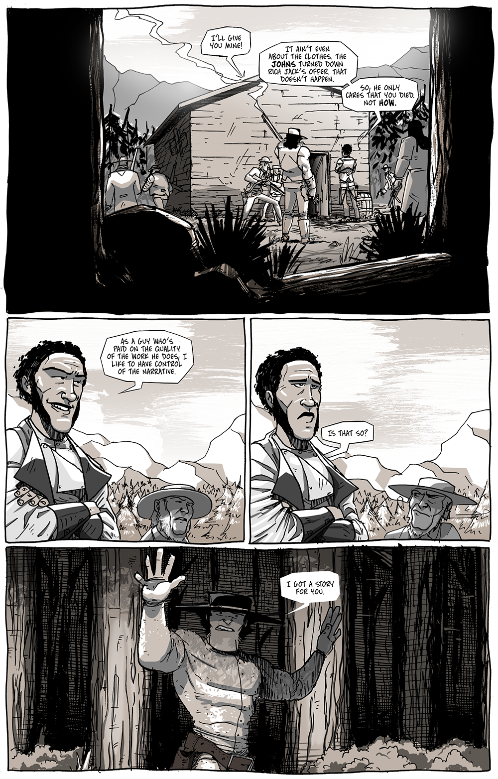 The page takes on a whole different tone when you read the first panel as Bishop negotiating with a sentient cabin.